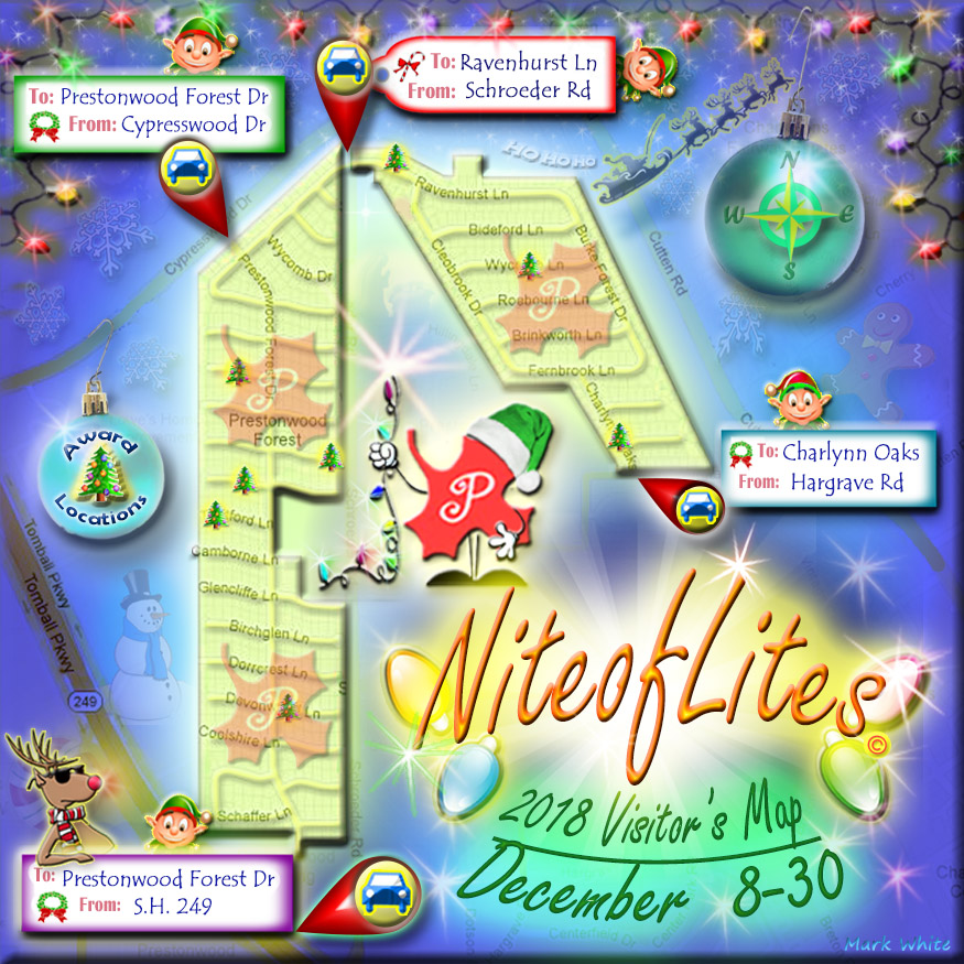 Prestonwood Forest Street Map for Nite of Lites 2018