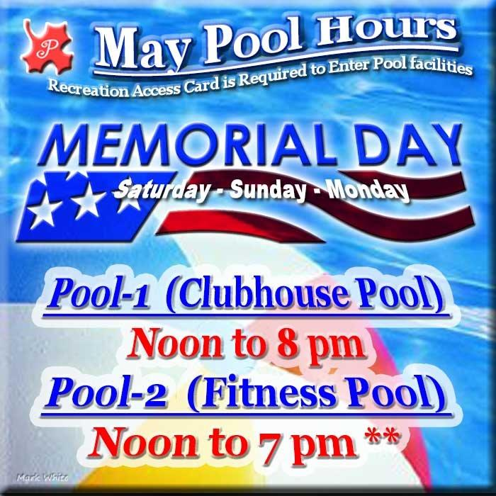 May 2017 Swimming Pool Hours