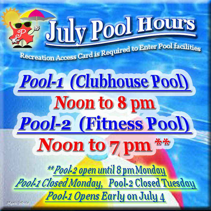 July 2017 Swimming Pool Hours