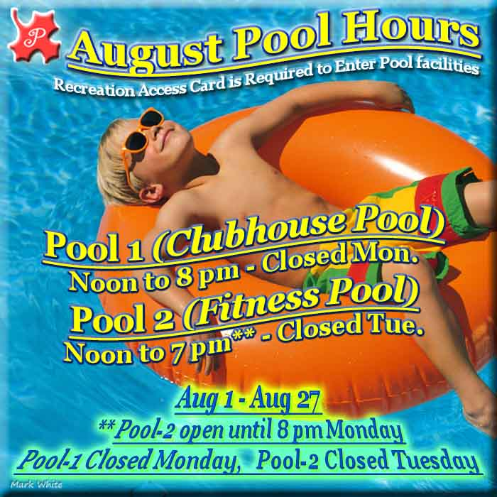 August 2017 Swimming Pool Hours