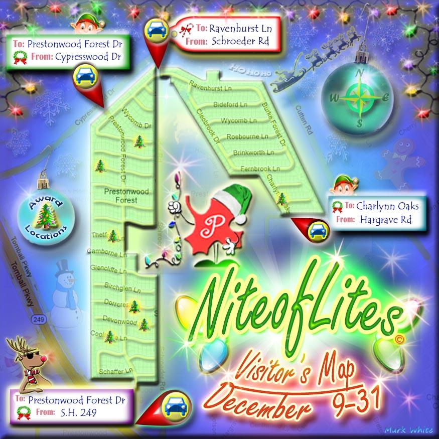 Prestonwood Forest Street Map for Nite of Lites 2017