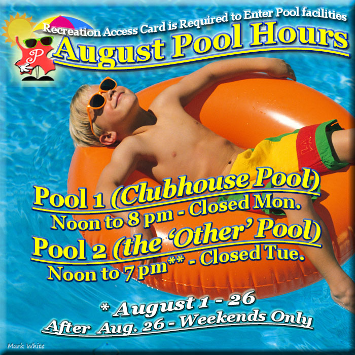 August 2018 Swimming Pool Hours