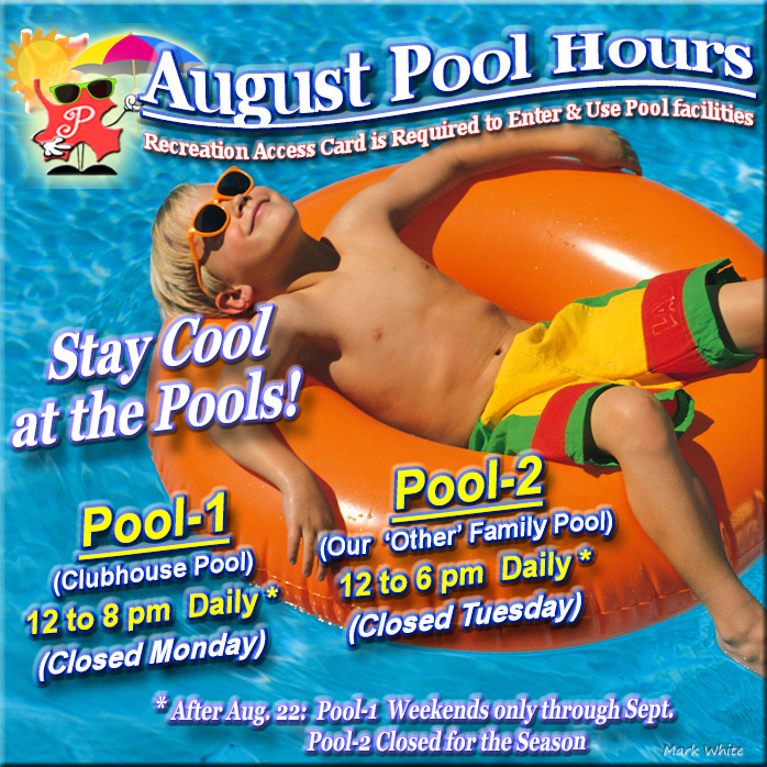 August 2021 Swimming Pool Hours
