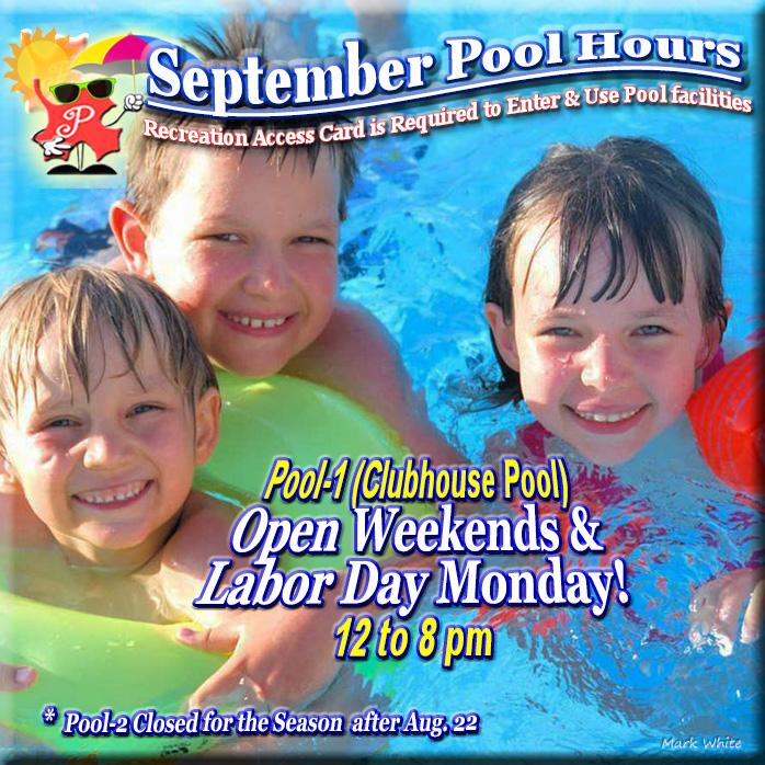 September 2021 Swimming Pool Hours